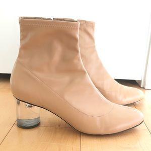 Schutz beige sock boots with lucite heels size 7.5